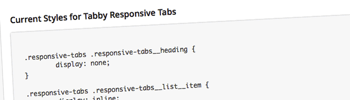 View the current CSS styles for the tabs